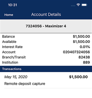 screen showing account info on mobile
