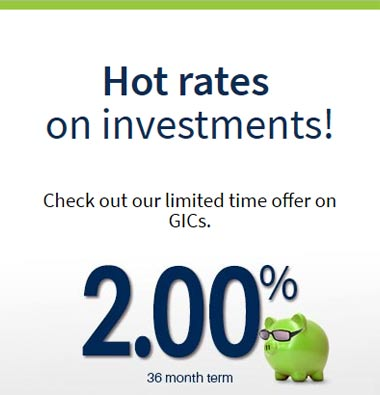 Limited time offer on GICs 2% for 36 months