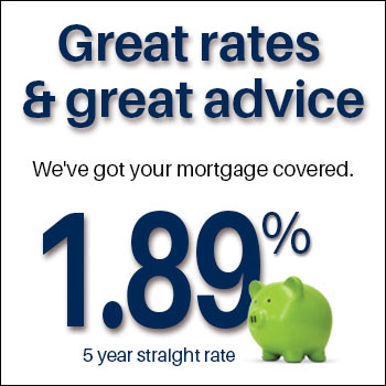 Great rates & great advice. We've got your mortgage covered. 1.94% 5 year straight rate mortgage