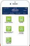 Affinity Mobile screen of Banking tab